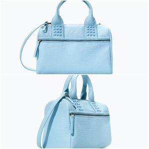 ZARA Women's Studded Bowling Bag:Sky Blue, Size:M